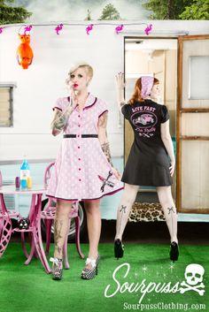 Sourpuss Dropout Dress: http://www.sourpussclothing.com/sourpuss-dropout-dress.html  Sourpuss Live Fast Die Pretty Dress: http://www.sourpussclothing.com/sourpuss-live-fast-die-pretty-dress.html  Sourpuss Skulls Bad Girl Scarf: http://www.sourpussclothing.com/sourpuss-skulls-bad-girl-scarf.html  #sourpuss #sourpussclothing #rockabilly #pinup #hotrod