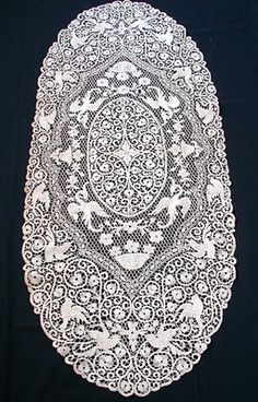 Cantu Lace Table Runner with Birds, C.1920's - Antique Lace, Linens-Vintage Clothing-Textiles-Fans-Stella Niforos-New York: Archive