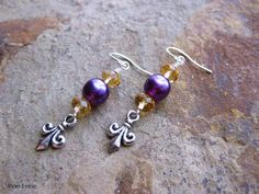 LSU Dangle Earrings, Purple Pearls, Gold Crystals, Antiqued Silver Fleurdelis