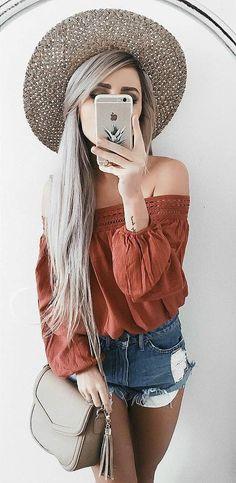 boho style addic:t hat + top + bag + shorts