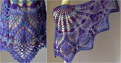 Pineapple Crochet Peacock Shawl [Free Pattern in PDF]