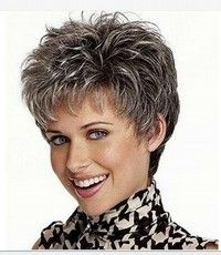 Buy picture color hot sale hair Curly products Beautiful boy cut Short pixie wigs for women style Synthetic Gray hair wig with bangs 2086 at Wish - Shopping Made Fun Short Pixie Wigs, Short Human Hair Wigs, Curly Pixie Cuts, Short Shag, Grey Hair Wig, Short Grey Hair, Hair Bangs, Grey Hair Styles For Women, Short Hair Cuts For Women
