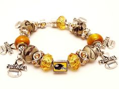 STEELER football fan BRACELET by SoCharmingBySteph on Etsy
