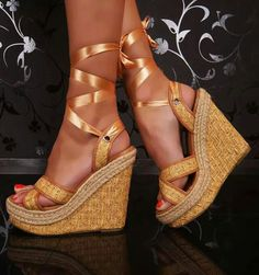 435ec4f9511 ℒℴvℯly woven wedge ribbon tie up shoes