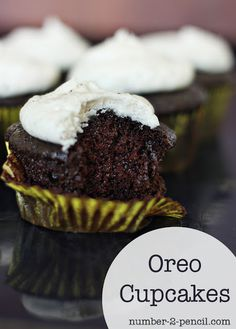Best Oreo Cupcake Recipe ever - rich chocolate cupcake with Oreo creme buttercream frosting.