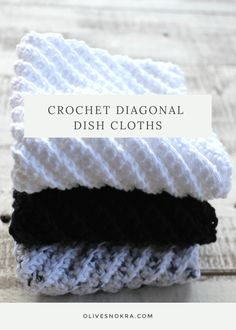 Looking for a easy crochet dish cloth pattern? Try this free pattern for Crochet Diagonal Dish Cloths. The diagonal pattern results in an appealing fabric. Crochet Towel, Crochet Potholders, Crochet Yarn, Easy Crochet, Crochet Hooks, Washcloth Crochet, Crochet Scrubbies, Crochet Geek, Crochet Humor