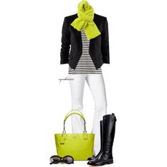 Wow. I have a chartreuse scarf in my closet. I have never worn it; guess what...I will be now! I may wear flats instead of boots. Love this.