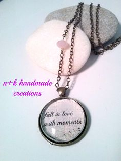Handmade glass pendant Fall in love with by thenkcreations on Etsy