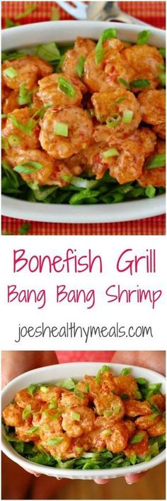 Bonefish Grill bang bang shrimp collage. Copycat recipe of the crunchy, spicy shrimp served by Bonefish Grill. | joeshealthymeals.com