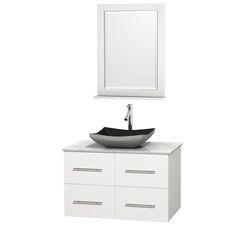 Pictures In Gallery Wyndham Collection Centra inch Single Bathroom Vanity in Matte White Green Glass Countertop Altair Black Granite Sink and inch Mirror