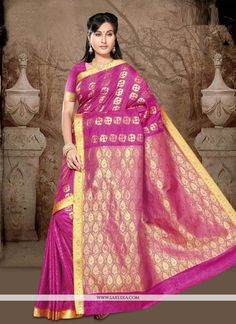 Elegance and honourable come together in this beautiful drape. Real beauty comes out from your dressing style with this hot pink art silk casual saree. This lovely attire is looking extra beautiful wi...
