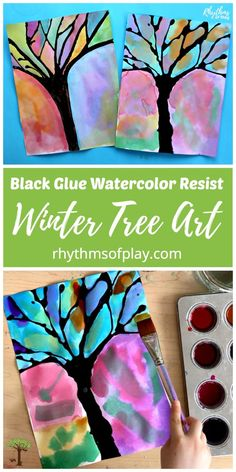 Try this gorgeous winter tree black glue watercolor resist art project with the kids! Painting with watercolors and using black glue as a resist medium is a process-oriented way for children to practice working with watercolors while they learn about color and the science of resist mediums. #winter #artforkids #kidsart #artprojectsforkids #artproject #watercolor #watercolorpainting