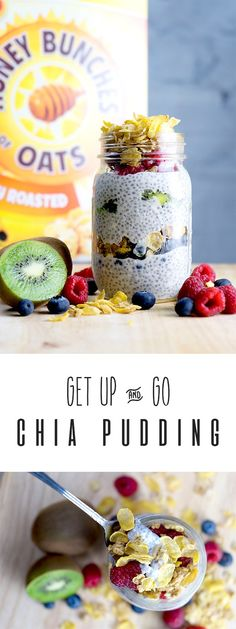 Chia Pudding with Honey Bunches of Oats. Do you need a quick, easy and healthy breakfast that is delicious and the whole family will love? You've come to the right place! My Get Up & Go Chia Pudding layered with Honey Bunches of Oats and fresh fruit is the right start to your morning and sure to fill you up! #spoonfulsofgoodness #cerealanytime #ad
