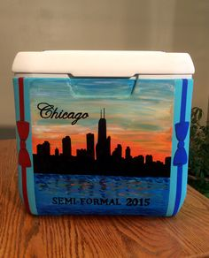 My first painted cooler for Beta formal...Chicago skyline at sunset