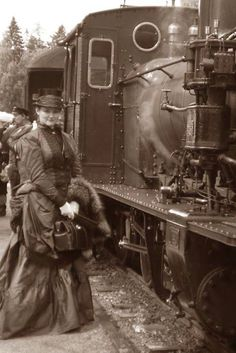 Lovely lady traveling on a steam train during the Victorian period. She is wearing a silk travel gown, circa early Train Car, Train Tracks, Train Rides, Diesel, Old Pictures, Old Photos, Vintage Photographs, Vintage Photos, Orient Express Train