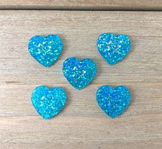 Blue Green Heart Hair Bow Center Blue Green Heart cabochon