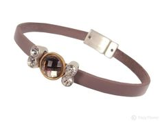 Hot Tomato nude leather bracelet with smokey and silver crystals (medium)