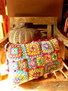Bohemian crochet pillow cover by SohoZulu on Etsy, $63.00