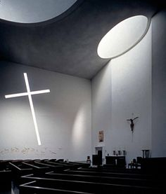 Interior. St. Basil's Chapel on the campus of St. Thomas University, Houston Texas.  Designed by Philip Johnson.