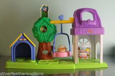 Little-People-Peek-n-Discover-dog-tree-house-tea-party-swing-bird-Vintage-Boy
