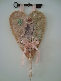 """The Key to My Heart"" ... what a wonderful way to display a fabric collage heart! Love the skeleton key hanger!  *********************************************   TheEnglishRomantic #heart #key #hanger hh"