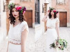 Bridal Style Inspiration Shoot with True North Bridal — Keira Lemonis Photography Bridal Outfits, Bridal Dresses, Two Piece Wedding Dress, Bridal Separates, Maggie Sottero, Bridal Style, Wedding Photos, Style Inspiration, Crop Tops