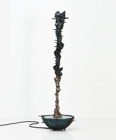 Aequor Mercury (Mercury of the Deep Water Feature) Patinated bronze, stainless steel, water pump 75 x 75 x 238 cm Variable edition of 3 + 1 AP Kenyan Artists, Stained Table, Led Fixtures, Deep Water, Crystal Ball, Natural World, Water Features, Mercury, Fountain