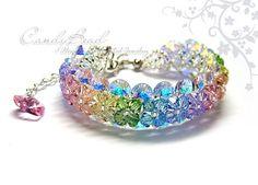 Sweet Rainbow Swarovski Crystal Bracelet with silver by candybead, $20.00