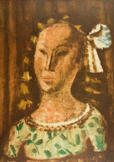 ALFREDO VOLPI - (1896 - 1988)    Título: Menina  Técnica: litografia off set  Tiragem: P. A.  Medidas: 61 x 44 cm  Assinatura: canto inferior direito