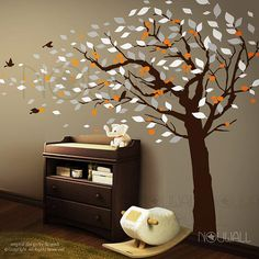 brown, grey, orange and white Autumn tree decal