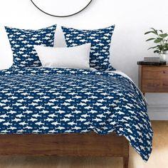 navy blue sharks shark fabric boys room - Spoonflower White Duvet Covers, Bed Covers, Pillow Shams, King Duvet, Queen Duvet, Indigo, Floral Pillows, Cozy Bed