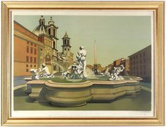 An incredible perspective and colorblocking give this drawing a dream like quality. #dream #lithography #Rohner