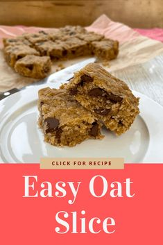 Easy Oat Slice with Chocolate drops. Delicious combination of easy pantry basic ingredients Kiwi Recipes, Oats Recipes, My Recipes, Sweet Recipes, Baking Recipes, Apple Breakfast, Breakfast Cups, Baking Tins, Baking Flour