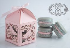 Wedding Favors Macaron Favor Song Bird Wedding Favor Box and (2) French Macaroon. $60.00, via Etsy.