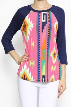This 3/4 sleeve Aztec print has just the right amount of color. Pair this shirt with cowboy boot or sneakers.   Bright Aztec Top by Mio. Clothing - Tops - Casual Clothing - Tops - Tees & Tanks Wyoming