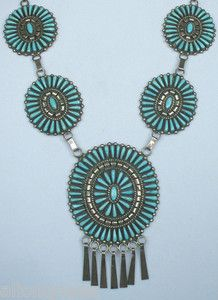 Huge Zuni Sterling Silver Turquoise Needlepoint Necklace Signed JHN Natewa   eBay