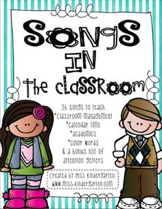 As a teacher, I always find myself singing songs!  The students just respond so well to my directions when I add a tune to it! I've compiled a file of songs that I use in my classroom to help with classroom management, calendar time and learning in general.In this file you will find 5 sections:Section 1: Classroom Management Quiet PleaseHave a SeatThe Carpet Song One, Two, Eyes on You!ListeningQuiet and You Know itFill a BucketCleaning UpOff to Home We Go Goodbye ChantSection 2: Calendar…