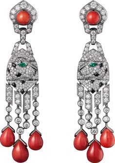 Panthère de Cartier High Jewelry earringsPlatinum, coral, onyx, emeralds, diamonds
