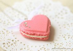 Heart Macaron Necklace - Raspberry Pink Macaron with swarovski crystal by miniaturepatisserie on Etsy https://www.etsy.com/listing/183300412/heart-macaron-necklace-raspberry-pink