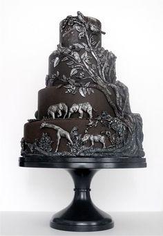 Black and silver African safari wedding cake. The most stunning stunning wedding cake ever Gorgeous Cakes, Pretty Cakes, Cute Cakes, Amazing Cakes, Beautiful Desserts, It's Amazing, Unique Cakes, Creative Cakes, Elegant Cakes