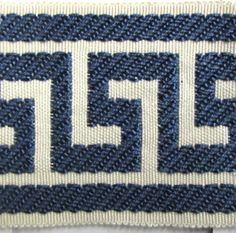 GREEK KEY tape braid border flat trim inch sapphire blue on cream Blue Bedrooms, Greek Key, Blue Sapphire, Tape, Two By Two, Upholstery, Braids, Dining Room, Fabrics
