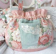 "Shabby Chic purse....16"" x 14""....really love the feminine look to this, not to mention the soft pastels including on the denium"