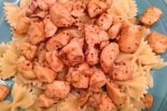 Limoncello and Meyer Lemon Chicken: cubed boneless, skinless chicken breasts, lemon pepper, olive oil, fresh garlic, butter, fresh Meyer lemons, Limoncello, served on bow tie pasta. Absolutely delicious!