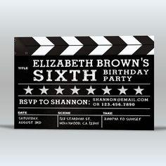 Digital Movie-Themed Birthday Party Invite