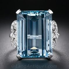 English 18.00 Carat Aquamarine and Diamond Ring - Antique & Vintage Gemstone Rings - Shop for Jewelry