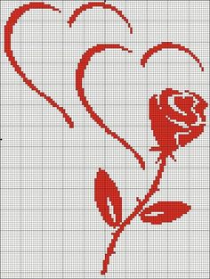 hearts and roses Cross Stitching, Cross Stitch Embroidery, Embroidery Patterns, Wedding Cross Stitch Patterns, Cross Stitch Designs, Cross Stitch Heart, Cross Stitch Flowers, Broderie Bargello, Cross Stitch Silhouette