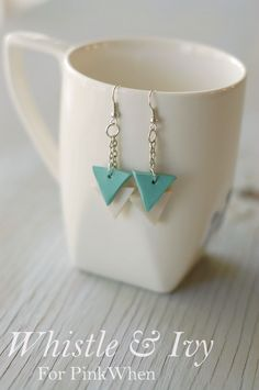Easy DIY Geometric Triangle Earrings from Polymer Clay!
