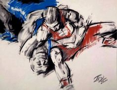 Wrestling cartoon logo dibujo lucha olímpica lutte.