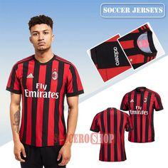 Customized Good Red/Black AC Milan Home New Soccer Jerseys With My Name 2017 2018 Personalise