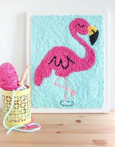 "On account of the ""fun"" times with the flamingo design this week I thought I'll show you the original that inspired the kit. This is and went to a lovely home ❤️ . Punch Needle Kits, Punch Needle Patterns, Embroidery Patterns Free, Embroidery Art, Embroidery Stitches, Rug Hooking Kits, Rug Hooking Patterns, Punch Art, Punch Punch"